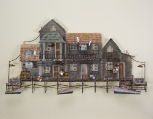 New England Sea Village Metal Wall Art